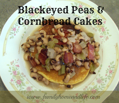 Blackeyed Peas and Cornbread Cakes a
