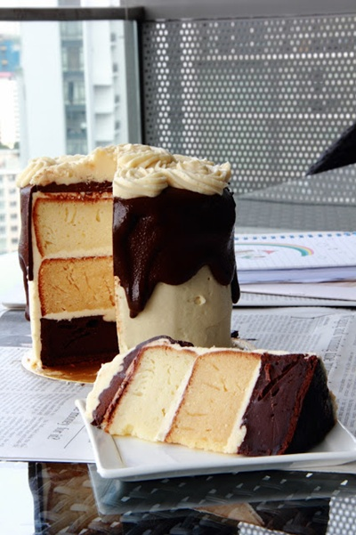 Chocolate Caramel White Cake