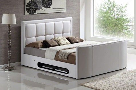 Lovely And then for a change of pace and something pletely modern I love this Leather Double TV bed I looks very sleek chic and modern and it es in