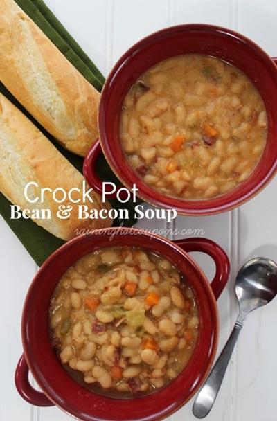 Crock Pot Bean and Bacon Soup