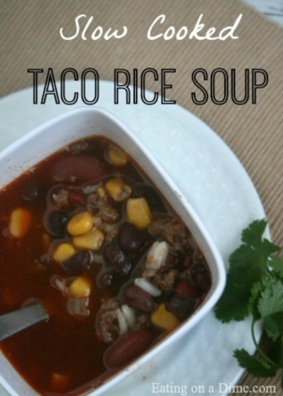 Slow Cooker Taco Rice Soup