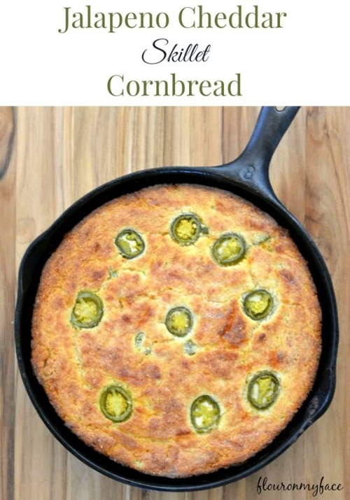 Jalapeno Cheddar Skillet Cornbread from Flour On My Face