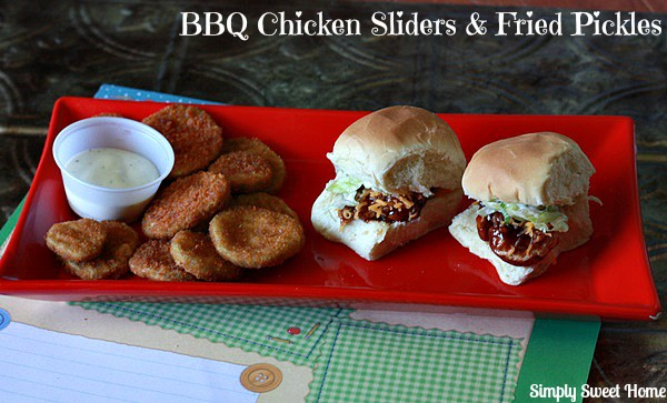 BBQ Chicken Sliders and Fried Pickles